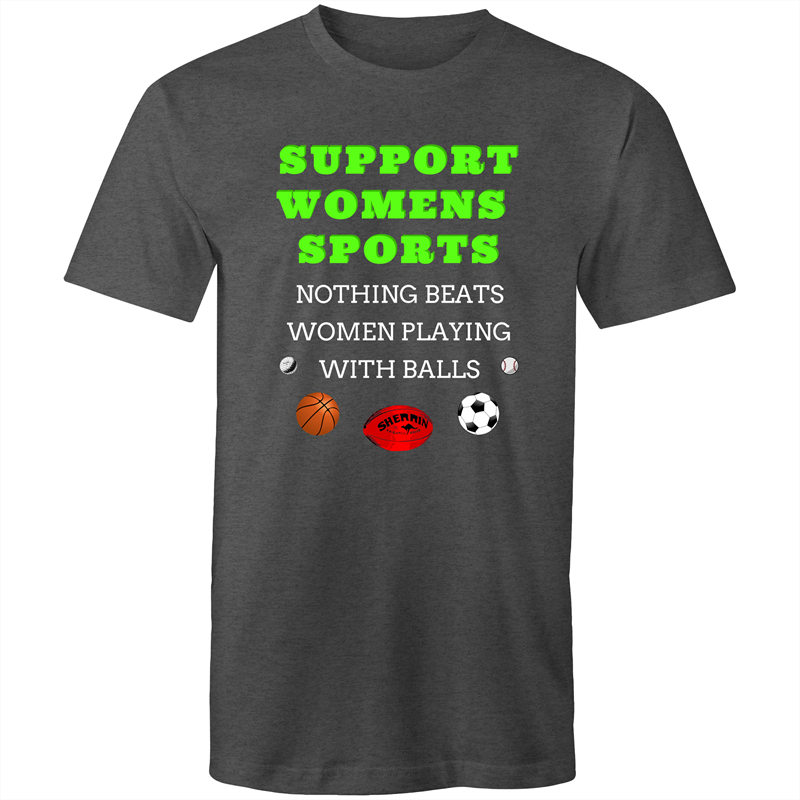 Colour Staple T-Shirt – Support womens sports – white text - Mens