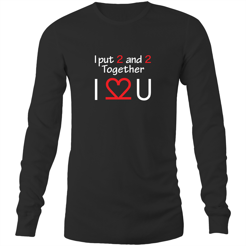 Long Sleeve T-Shirt - I Love You - White Text - Mens