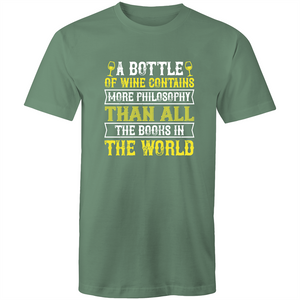 Colour Staple T-Shirt – A bottle of wine contains more philosophy - White text - Mens