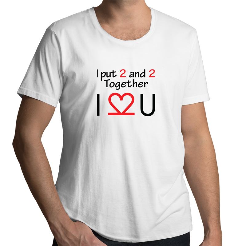 Scoop Neck T-Shirt – I Love you - Black Text - Mens