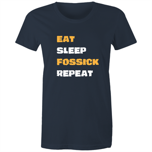 Maple Tee – Eat sleep fossick repeat - Rock style - Women's