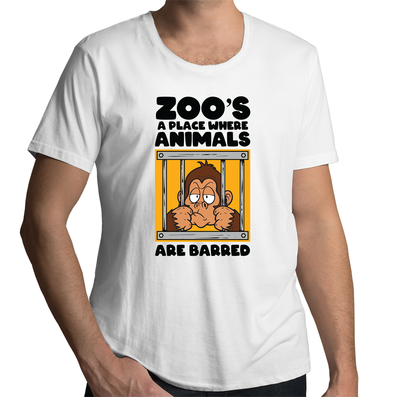 Scoop Neck T-Shirt - Zoo's a place where animals are barred - Black Text - Mens