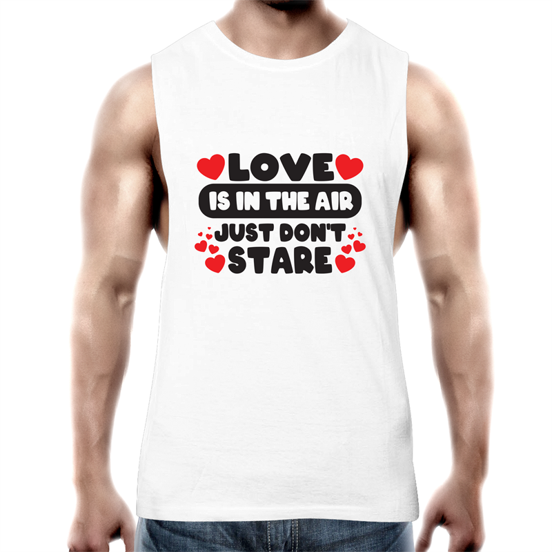 Tank Top Tee - Love is in the air - Black text - Mens
