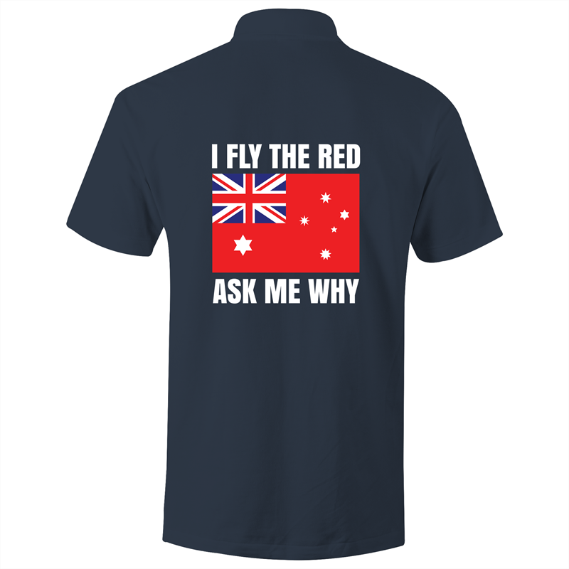 Polo Shirt - I fly the red - White text - AS Colour Chad