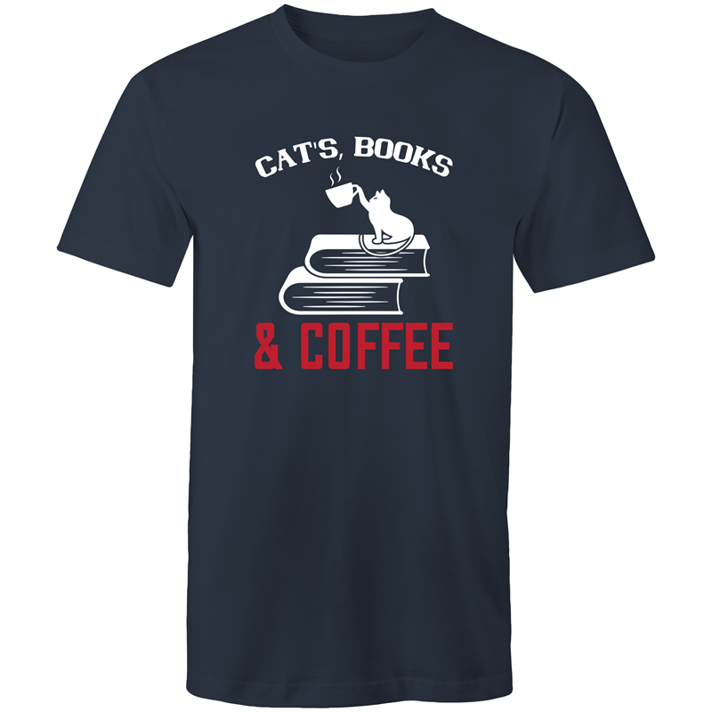 Colour Staple T-Shirt – Cats books and coffee - black text - Mens