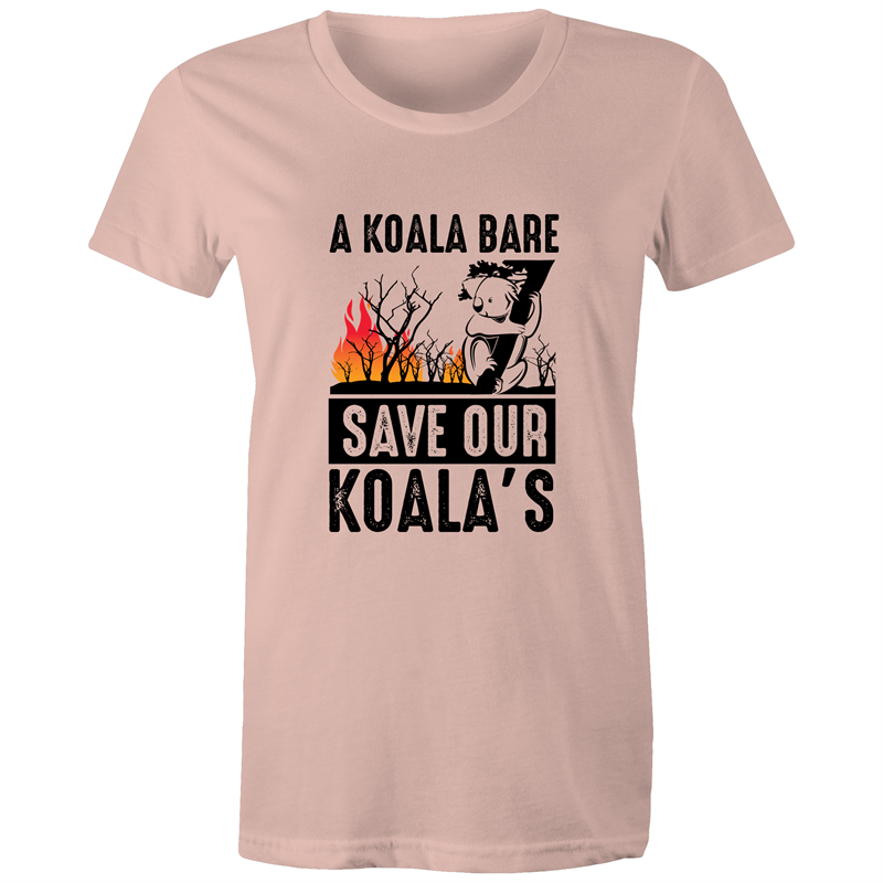 Maple Tee - A Koala Bare - Black text - Women's