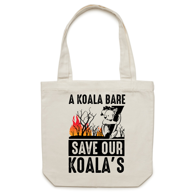 Canvas Tote Bag - A Koala Bare - Carrie
