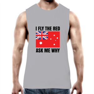 Tank Top Tee - I fly the red - Black text - Mens