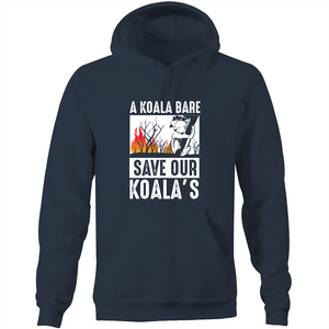 Pocket Hoodie Sweatshirt - A Koala Bare - White Text - Unisex