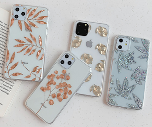 Art Plating Leaf Glitter Bling Cover Case For Apple Iphone 11 Pro Max X Xr Xs Max SE