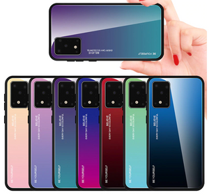 Tempered Back gradient Color Cover Case For Samsung Galaxy S20 S10 All Series A