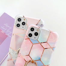 Load image into Gallery viewer, Electroplated Geometric Marble Ring Finger Case For Apple Iphone 12 Pro Max 11 X Xr Xs SE