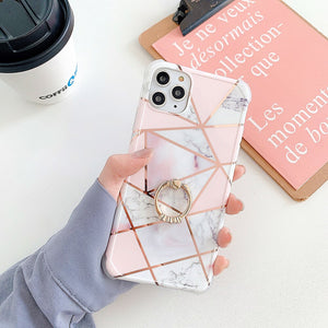 Electroplated Geometric Marble Ring Finger Case For Apple Iphone 12 Pro Max 11 X Xr Xs SE