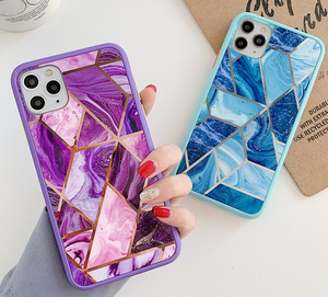 Electroplated Geometric Marble Case For Apple Iphone 12 Pro Max 11 X Xr Xs SE