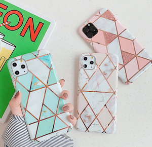 Splicing Geometric Marble Case For Apple Iphone 12 Pro Max 11 X Xr Xs SE