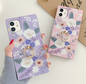 Watercolor Flower Leaf Ring Finger Case For Apple Iphone 12 Pro Max 11 X Xr Xs SE