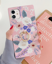 Load image into Gallery viewer, Watercolor Flower Leaf Ring Finger Case For Apple Iphone 12 Pro Max 11 X Xr Xs SE