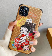Load image into Gallery viewer, Louis Vuitton Supreme Betty Boop Case For Apple Iphone 12 Pro Max Mini 11 Xr Xs X 7 8