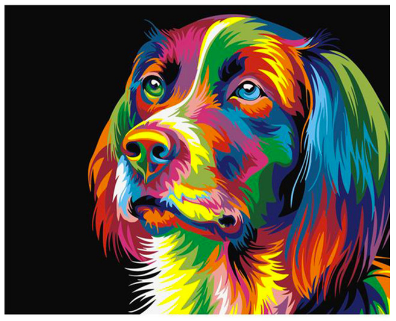 DIY Canvas Dog Painting Home Decoration Pop Art Paint Style Frameless Colorful