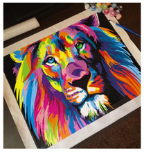 Load image into Gallery viewer, DIY Canvas Lion Painting Home Decoration Pop Style Frameless Colorful