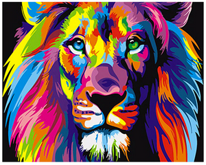 DIY Canvas Lion Painting Home Decoration Pop Style Frameless Colorful