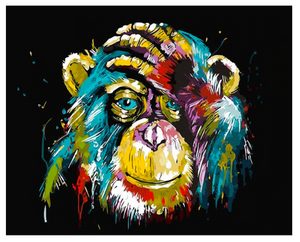 DIY Canvas Monkey Painting Home Decoration Pop Art Style Frameless Colorful