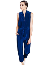 Laden Sie das Bild in den Galerie-Viewer, NAVY JUMPSUIT - OVERALL BLAU SEIDE