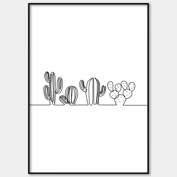 One Line Abstract Cacti Wall Print