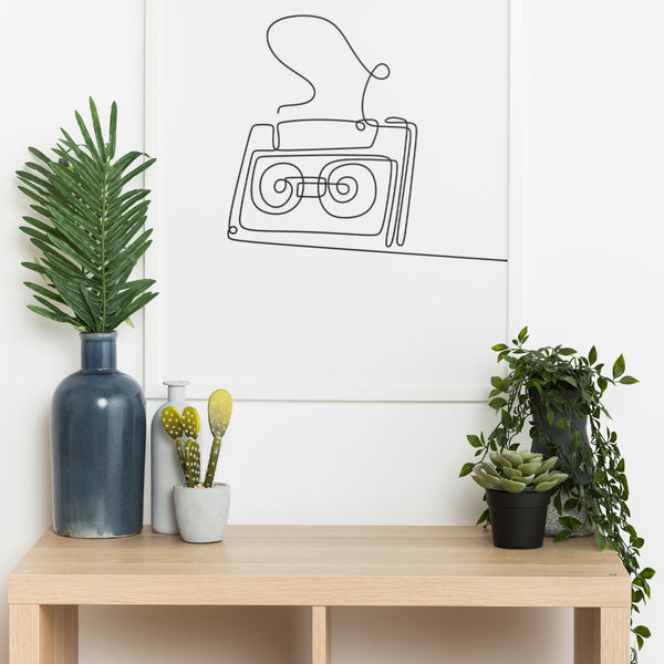 One Line Abstract Cassette Tape Wall Print