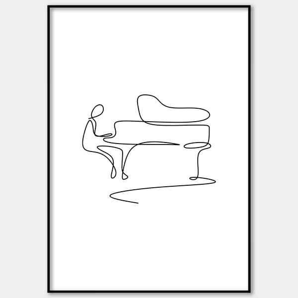 One Line Abstract Pianist Wall Print