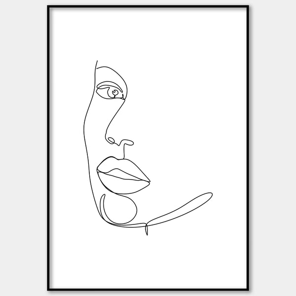 One Line Illustrated Face Wall Print