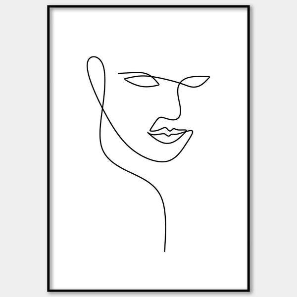 One Line Abstract Face Figure Wall Print
