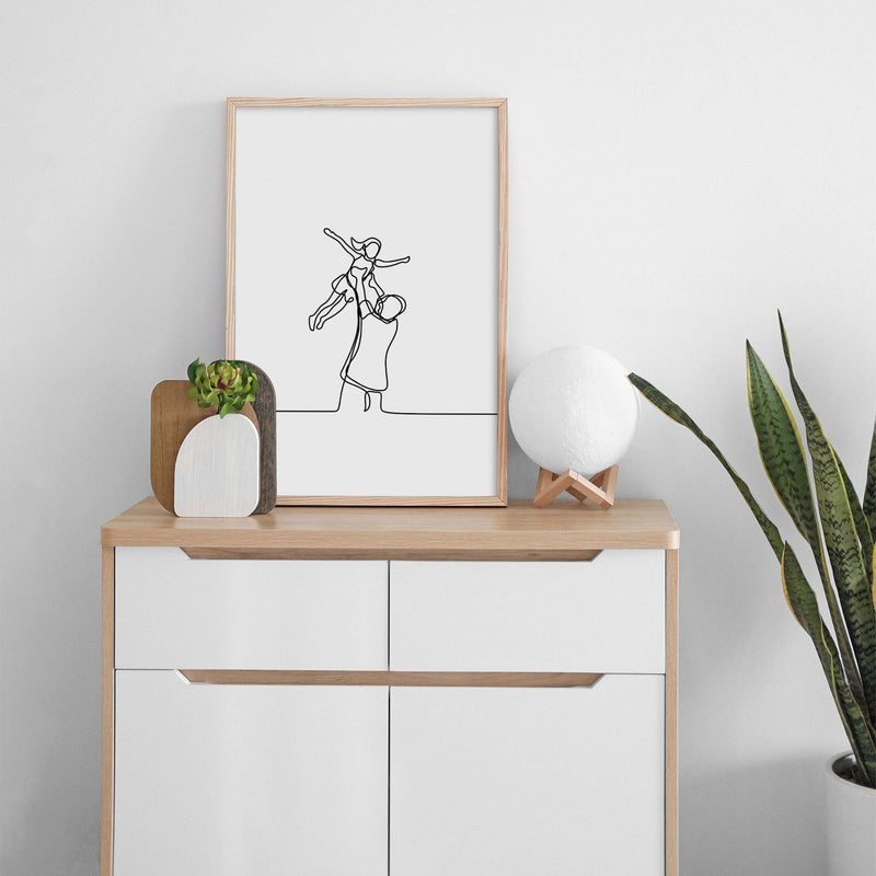 One Line Abstract Father And Daughter Wall Print