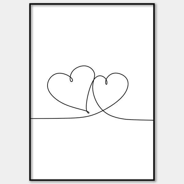 One Line Abstract Hearts Wall Print