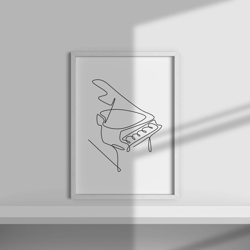 One Line Abstract Piano Wall Print