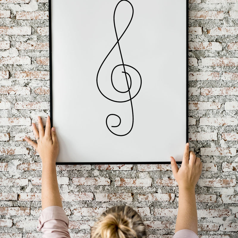 One Line Abstract Treble Clef Flower Wall Print