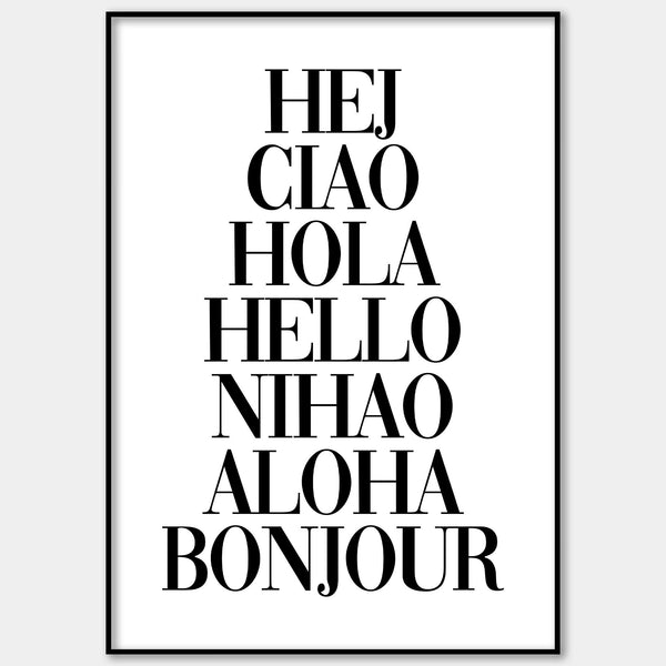 Hello In Multiple Languages Wall Print