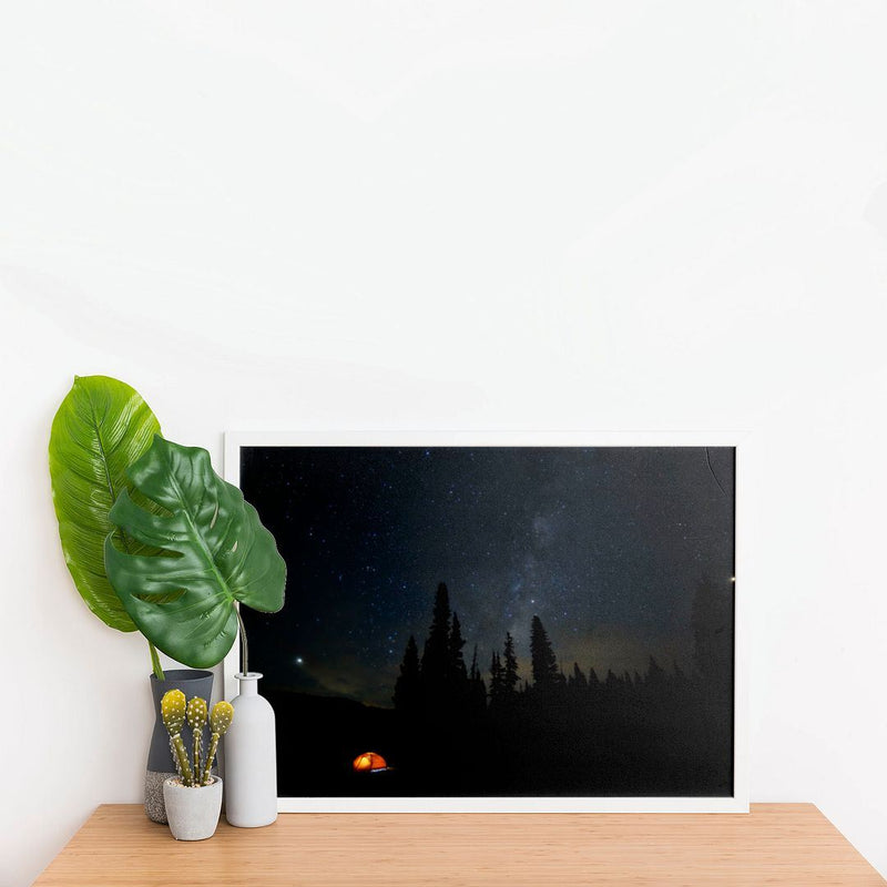 Glowing tent under Milky Way Wall Poster