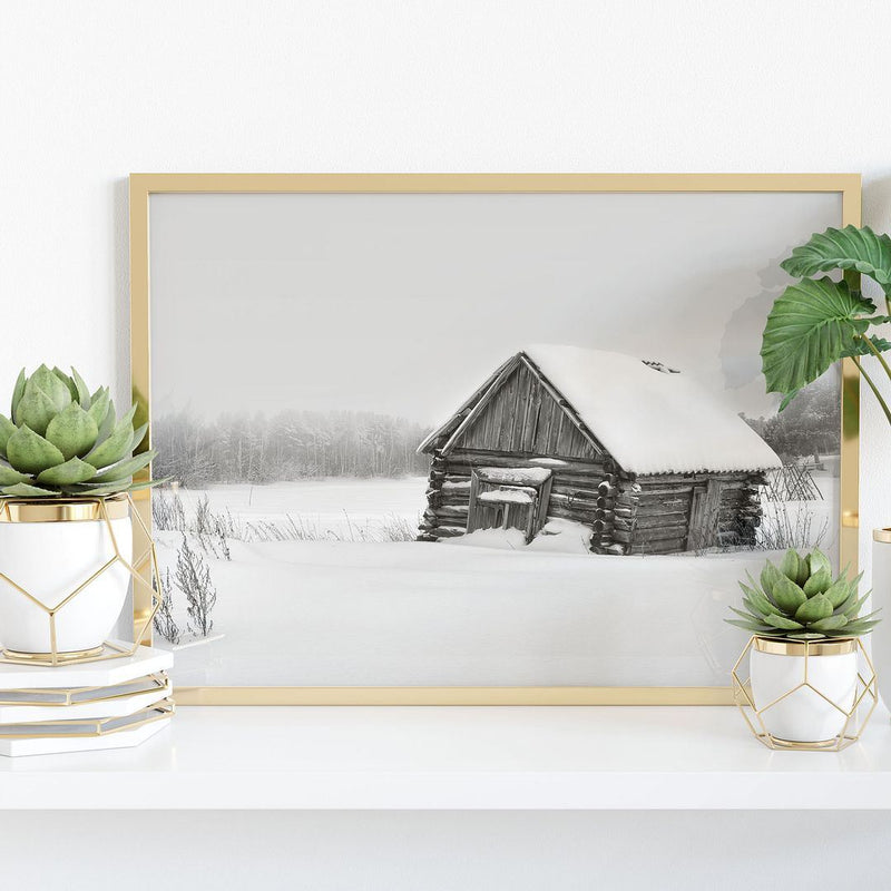 Old Snowy Cabin Wall Poster