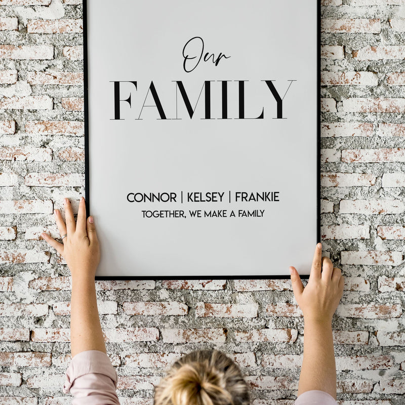 Personalised Family Names & Quote Wall Print