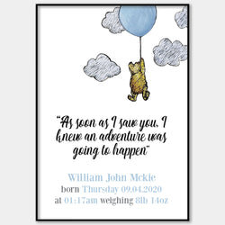 Personalised Winnie The Pooh Date Of Birth Unisex Wall Print
