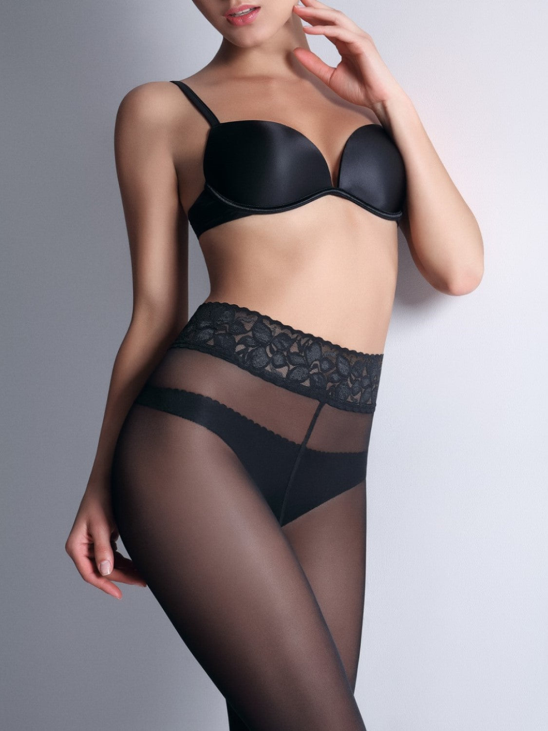 Giulia Impresso - lace waistband seamless tights
