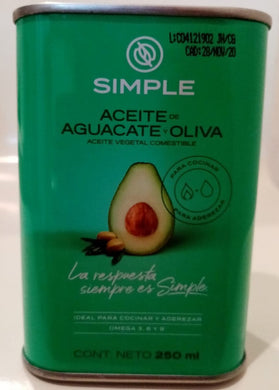 Aceite de aguacate y oliva Simple 250 ml