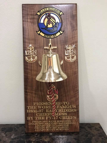 3 ft by 16 inch Walnut plaque with an 11 inch Bell for the World Famous HSM -37 EASYRIDERS.