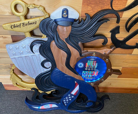 Coast Guard Mermaid with Helm and Cover Shadow Box