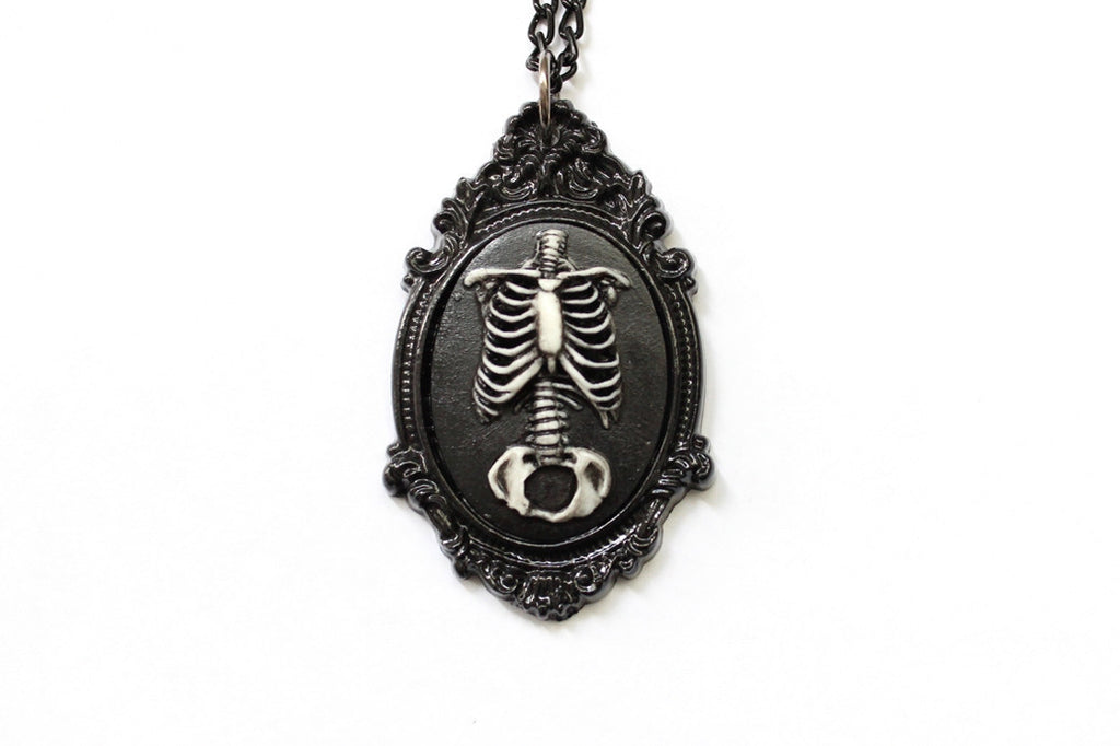 Anatomical Skeleton Torso Aged Cameo Necklace