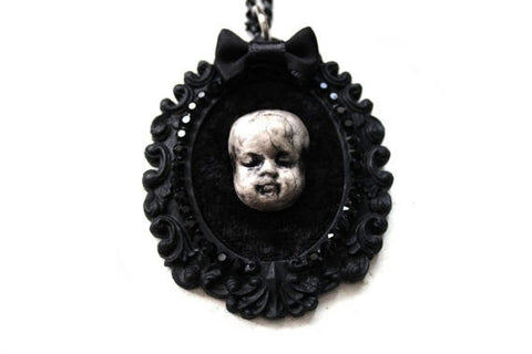 Baby Doll Head Cameo Necklace