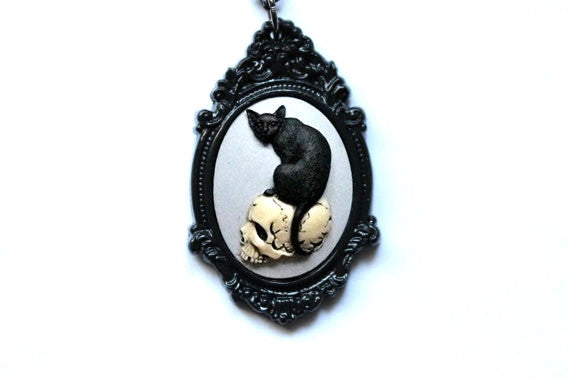 Skull & Black Cat Cameo Necklace