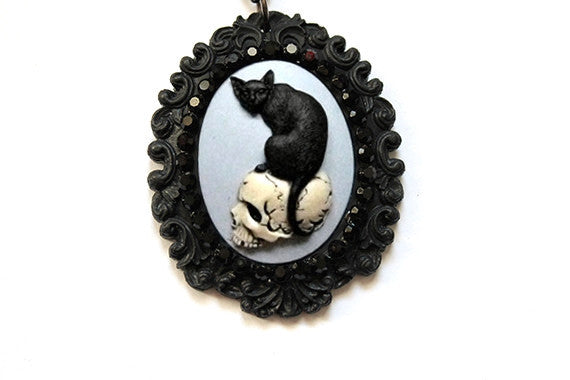 Skull and Black Cat Baroque Cameo Necklace
