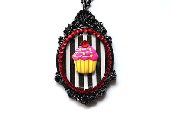 Striped Cupcake Cameo Necklace - Hot Pink